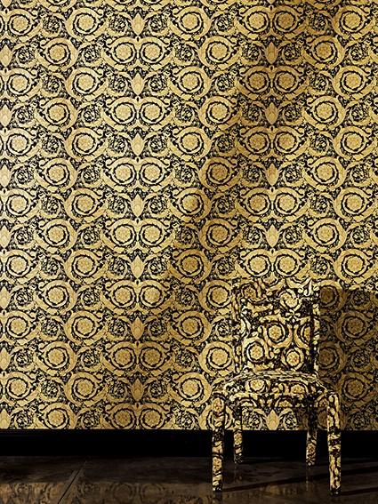 e4289d9b9561 Versace Home Wallpaper floral nature gold gloss 93583-4