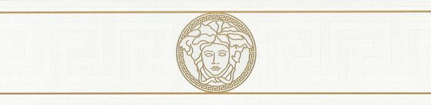 Versace Home Bordüre Medusa weiß gold Glanz 93522-3