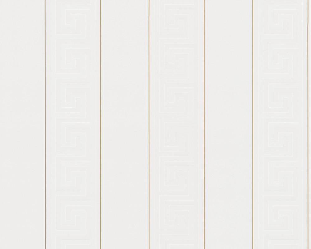 Versace Home Wallpaper Striped Greek White Gold 93524 1
