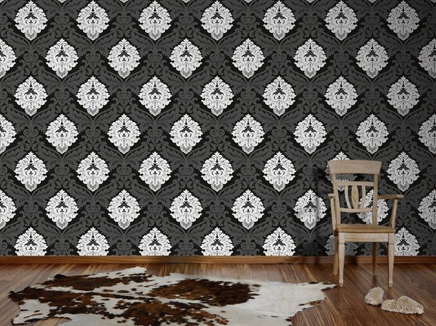 Wallpaper non-woven baroque anthracite white 5543-14 online kaufen