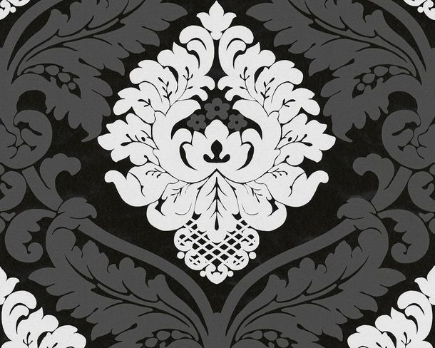 Wallpaper non-woven baroque anthracite white 5543-14