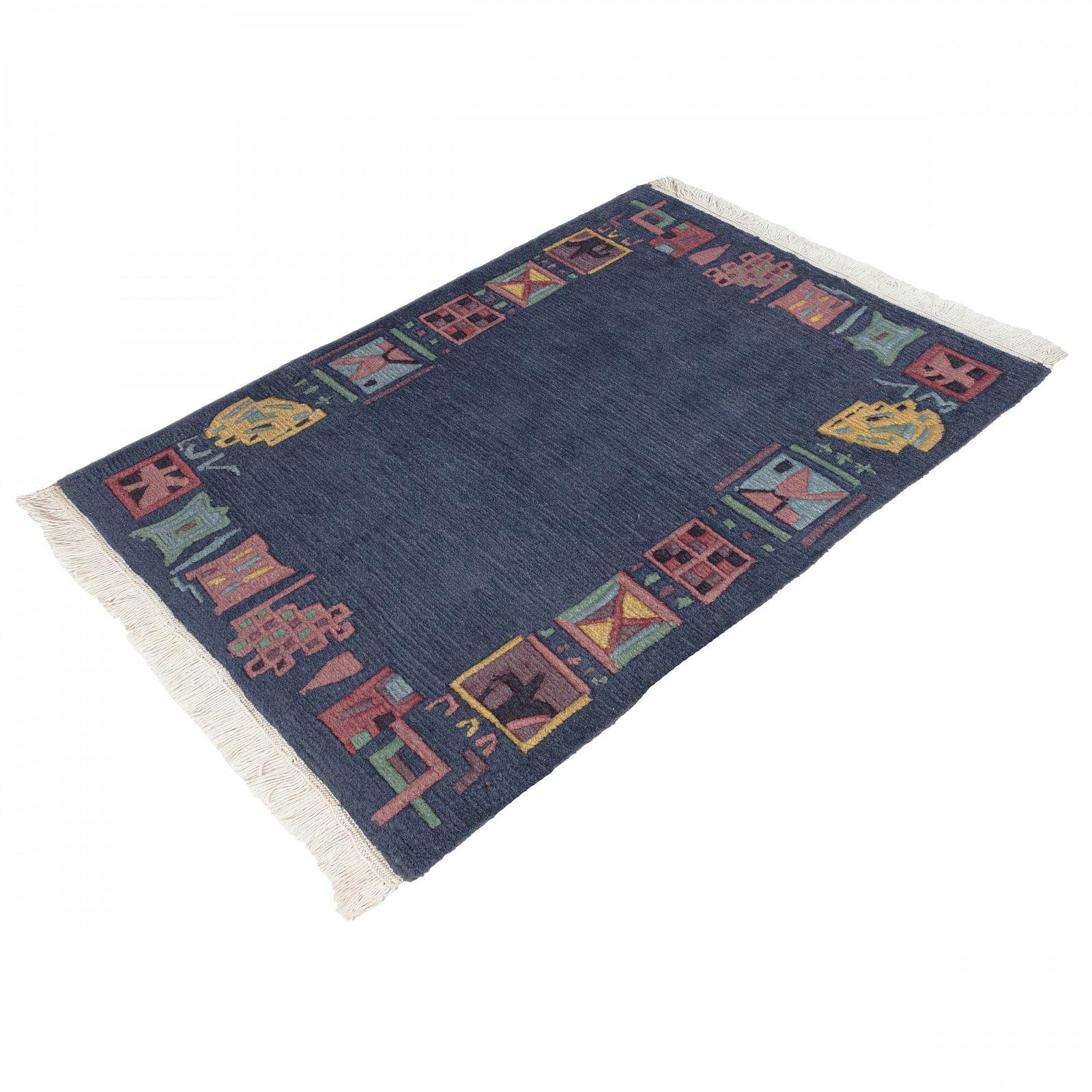 handgekn pfter original tibet nepal teppich 67x90 cm blau. Black Bedroom Furniture Sets. Home Design Ideas