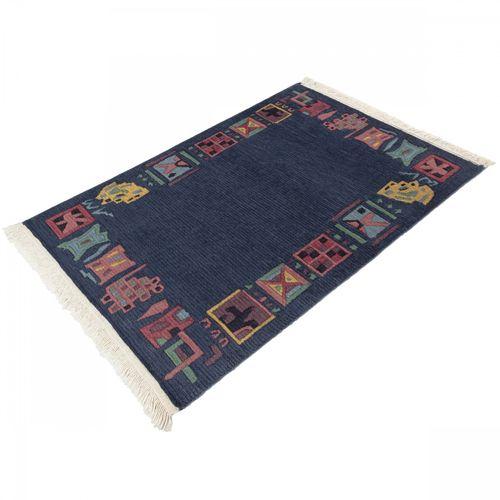 Handgeknüpfter Original Tibet Nepal Teppich 64x95 cm blau online kaufen