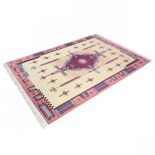 Handgeknüpfter Teppich Original Tibeter 100 Lines Teppich 171x242 cm cremegelb pink online kaufen