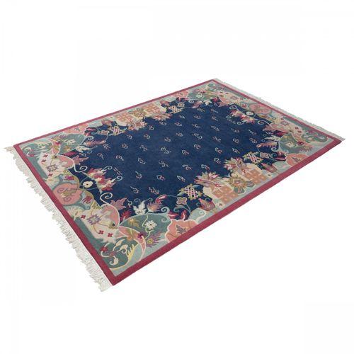 Handgeknüpfter Teppich Original Tibeter 100 Lines Teppich 169x240 cm blau online kaufen
