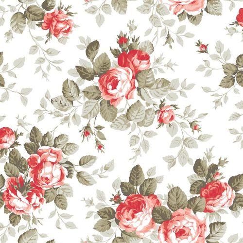Tapete Rasch Textil Pretty Nostalgic Vliestapete 138111 Floral weiß rot grau online kaufen