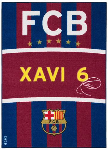 Carpet FCB Barcelona Xavi Fan Rug 95x133 blue red yellow white online kaufen