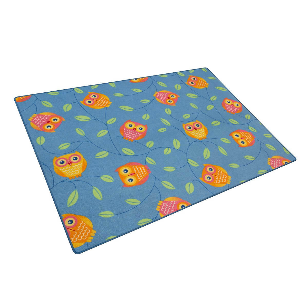 happy owls carpet kids rug 133 x 170 cm blue. Black Bedroom Furniture Sets. Home Design Ideas