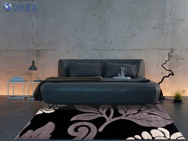 Carpet Florida flower grey black in 4 sizes online kaufen