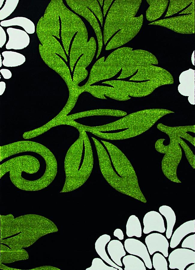 Teppich Florida Grün Schwarz Blumen In 4 Größen