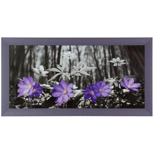 Bild Wandbild Kunstdruck gerahmt 33x70 cm Blumen Wald schwarz weiß lila online kaufen