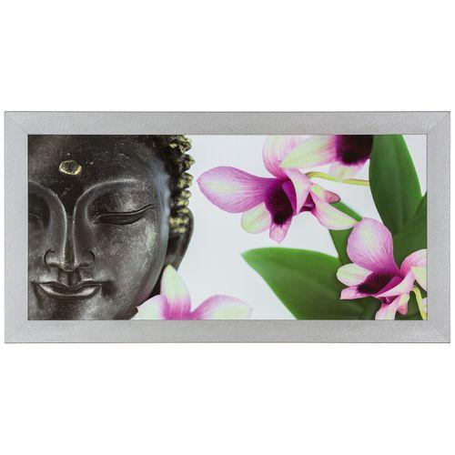 Bild Wandbild Kunstdruck gerahmt 33x70 cm Wellness Buddha Blumen lila grün weiß online kaufen