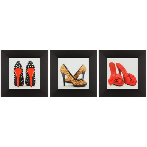 Wandbild 3er Set Kunstdruck je 23x23 cm High Heels Pumps rot orange weiß