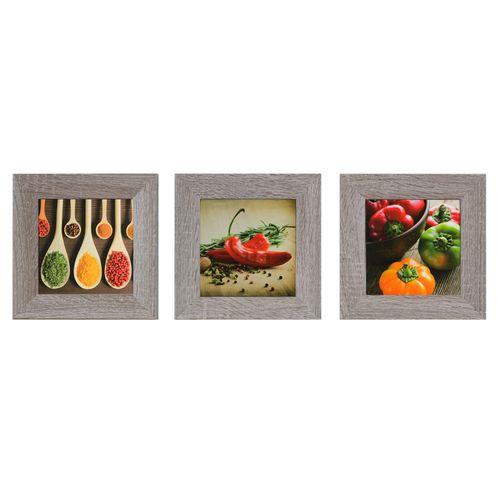 Wandbild 3er Set Kunstdruck je 23x23 cm Gemüse Gewürze Chili rot gelb grün braun online kaufen