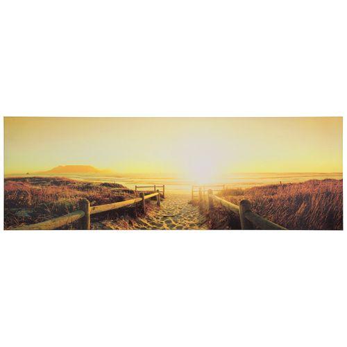 Wandbild Keilrahmen Kunstdruck 50x150 Sonnenuntergang Strand gelb hellbraun online kaufen