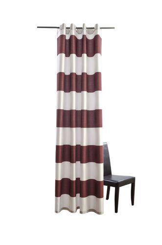 Ösenschal Homing Burbank Vorhang blickdicht 140x245 573516 Streifen rot silber