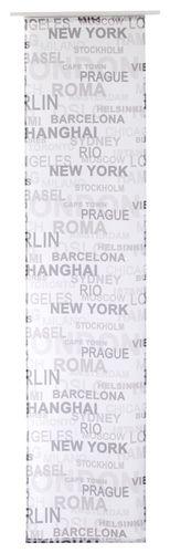 Elbersdrucke Flächenvorhang Öko-Tex City transparent 60x245 weiß schwarz grau online kaufen