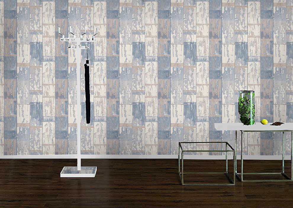rasch tapeten 587128 vlies tapete holz bretter vintage holztapeteblau creme. Black Bedroom Furniture Sets. Home Design Ideas