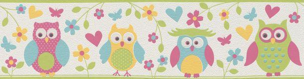 Kid's Border Owls Flowers white colourful Rasch 459203 buy online