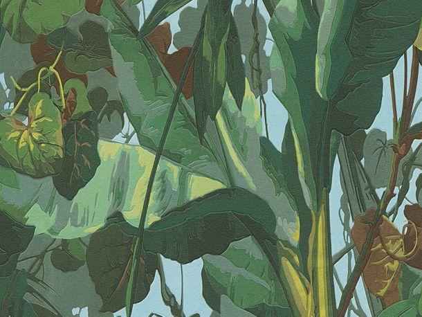 Vinyltapete 95898-1 Cartoon Blätter Wald grün blau braun