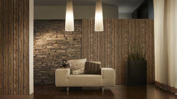 Tapete Holz-Optik dunkelbraun 95837-1 online kaufen