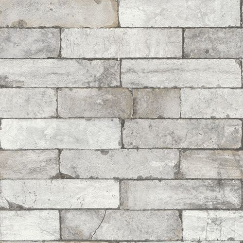 Wallpaper 3D stone wall bricks grey white Rasch 446302  online kaufen