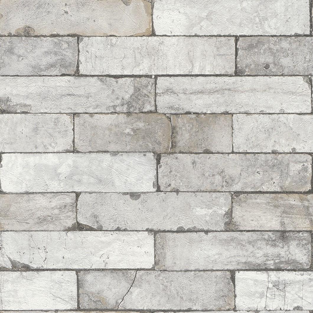 Wallpaper 3d Stone Wall Bricks Grey White Rasch 446302