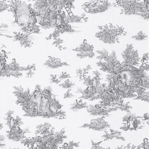 wallpaper cottage style pattern anthracite white Rasch Textil wallpaper Petite Fleur 3 285085 online kaufen