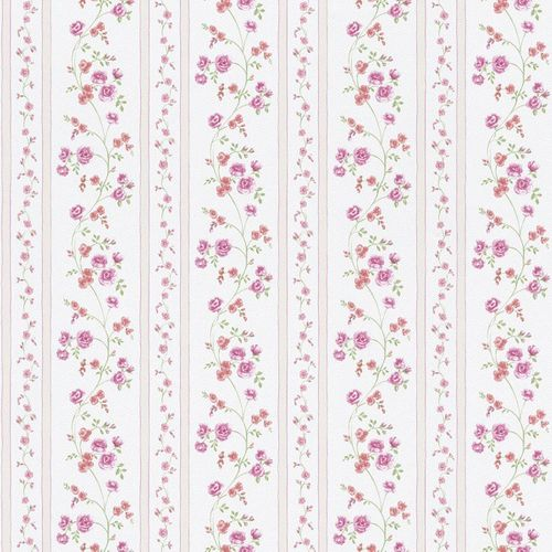 wallpaper stripes flowers pink red cream Rasch Textil wallpaper Petite Fleur 3 285313 online kaufen