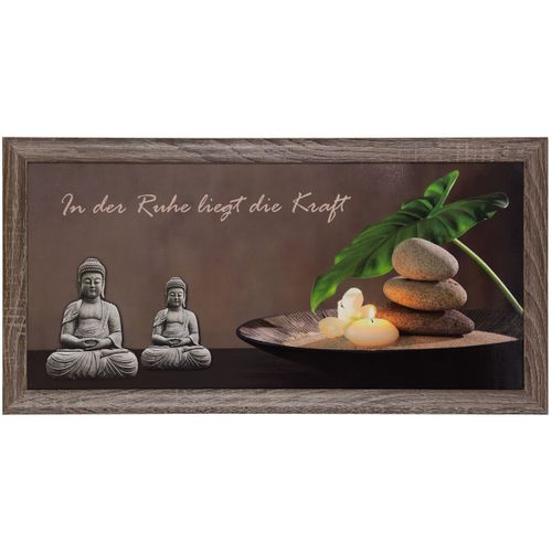 Picture framed art print 23 x 49 cm Wellness Buddha candles brown grey green online kaufen