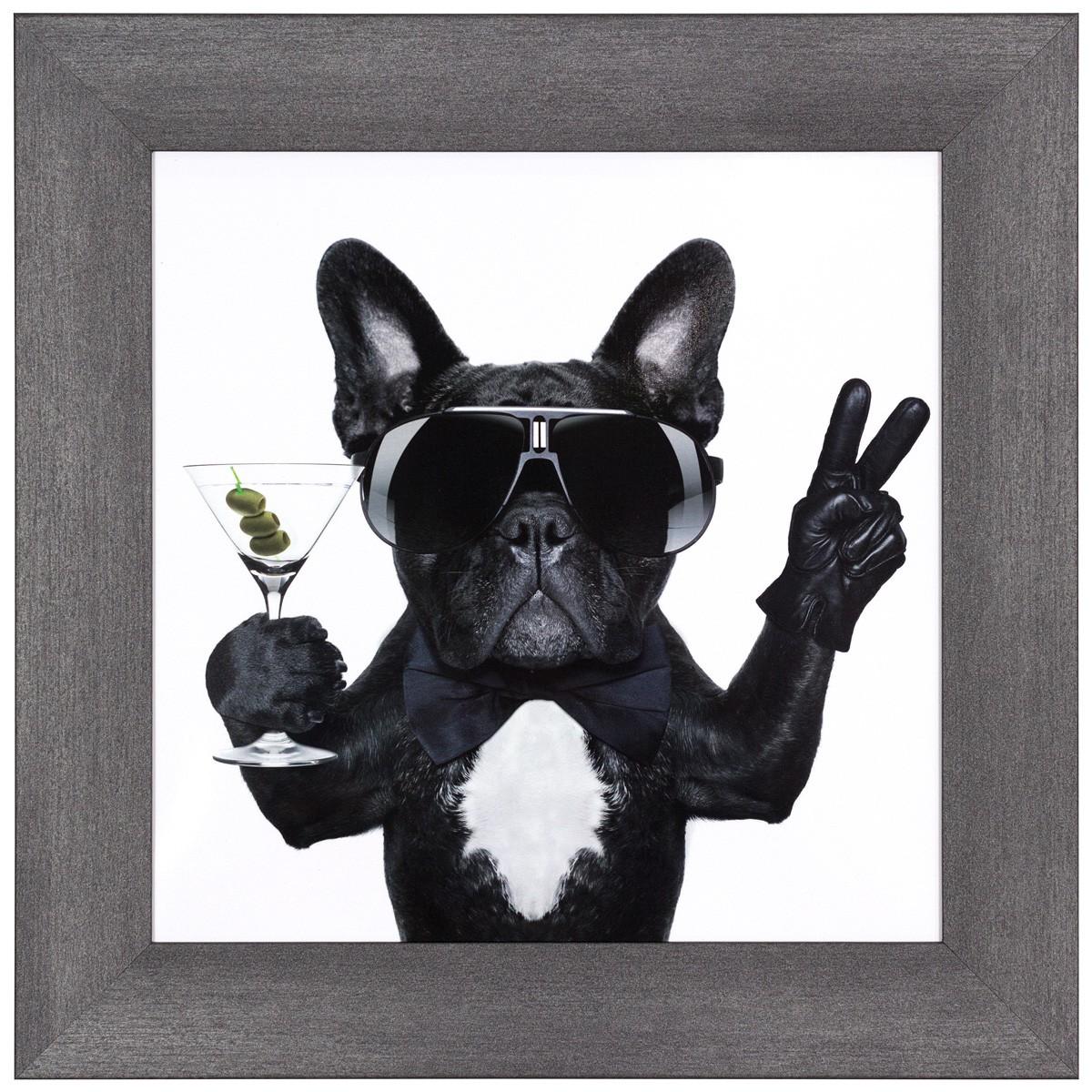 Wandbild 3er Set Kunstdruck Gerahmt Vers Größen Hunde Cool Weiß Beige Schwarz