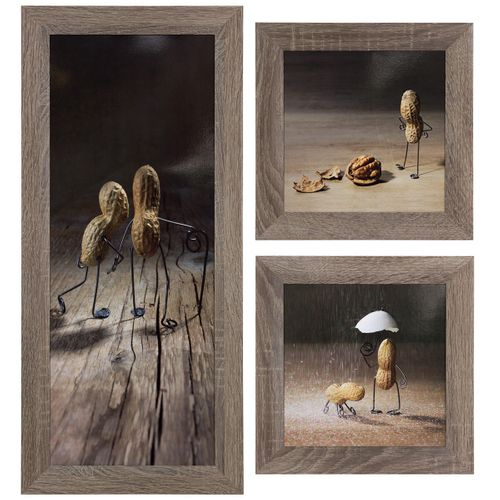 Set of 3 pictures framed art print in different sizes Peanuts figures brown beige online kaufen