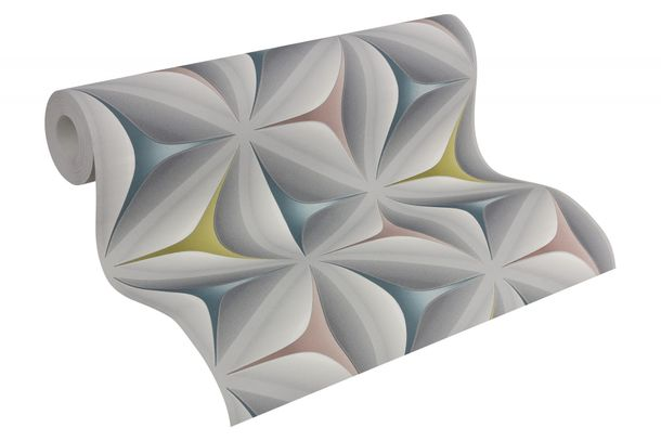 Tapete vlies 3d optik blumen aquarell grau bunt 96042 2 for 3d tapete grau
