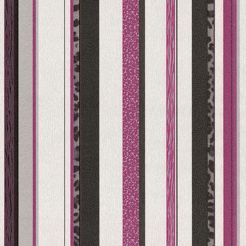 Vliestapete Streifen Leoprint schwarz pink silber Trend Edition P+S 13471-10