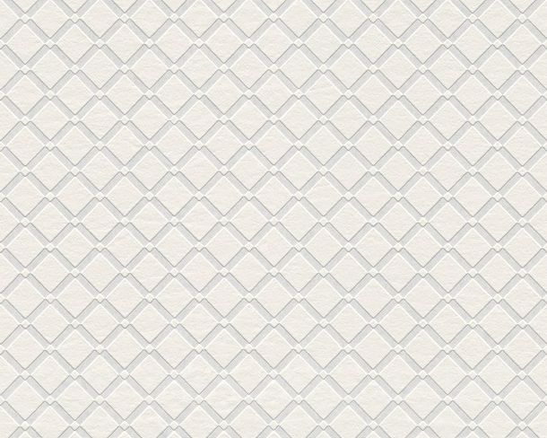 Wallpaper non-woven paintable squares white 5281-17