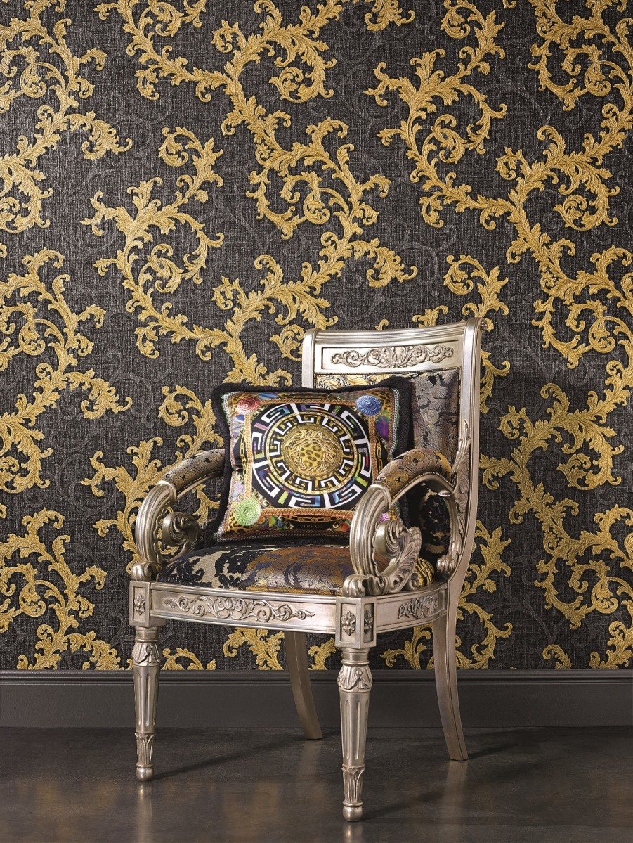 tapete vlies barock anthrazit gold as creation versace 96231 6. Black Bedroom Furniture Sets. Home Design Ideas