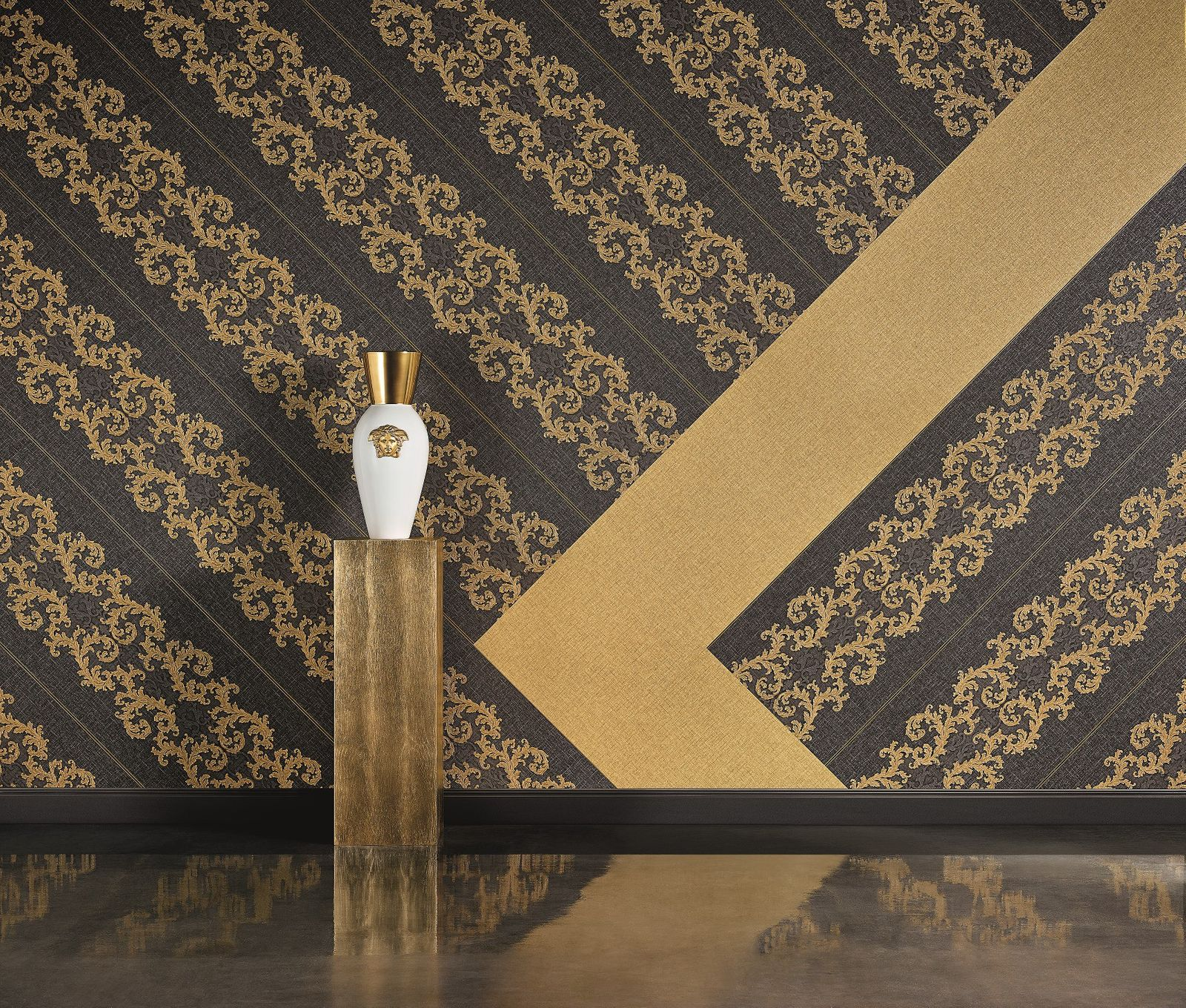 versace home wallpaper linen gold gloss 96233 4. Black Bedroom Furniture Sets. Home Design Ideas