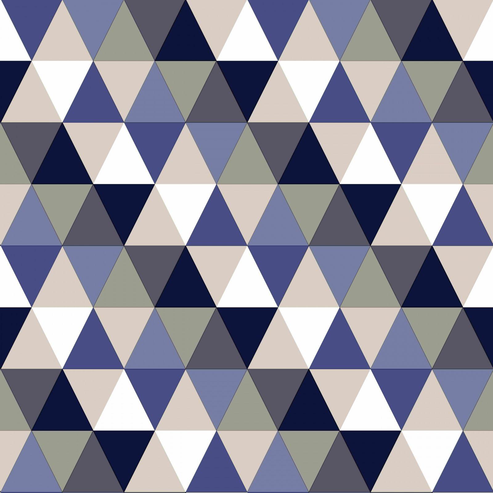 tapete vlies dreiecke blau wei beige everybody bonjour 138716. Black Bedroom Furniture Sets. Home Design Ideas