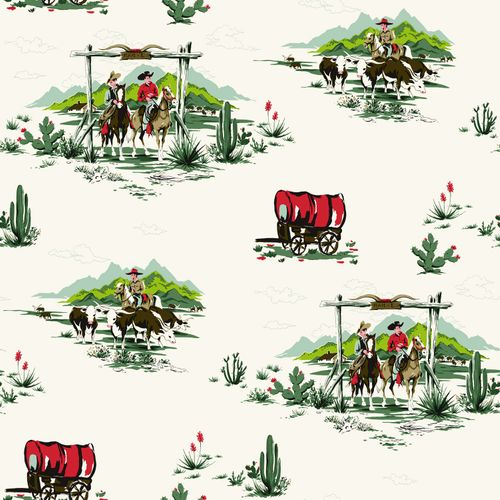 Non Woven Wallpaper cowboy green red white Everybody Bonjour 128718 online kaufen