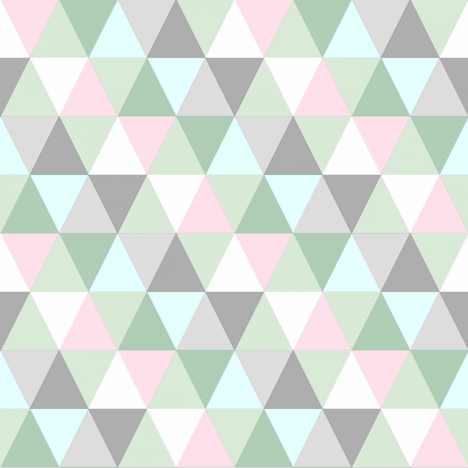 Tapete Vlies Dreiecke grün grau rosa Everybody Bonjour 128706