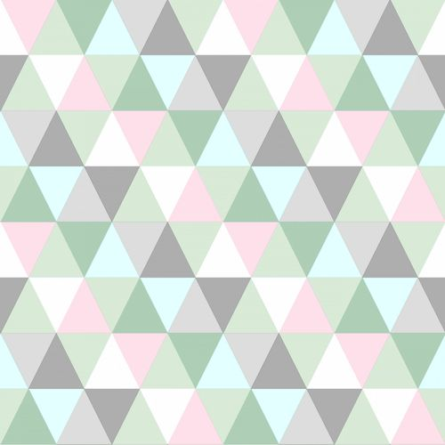 Non Woven Wallpaper triangle green, grey, rose Everybody Bonjour 128706 online kaufen