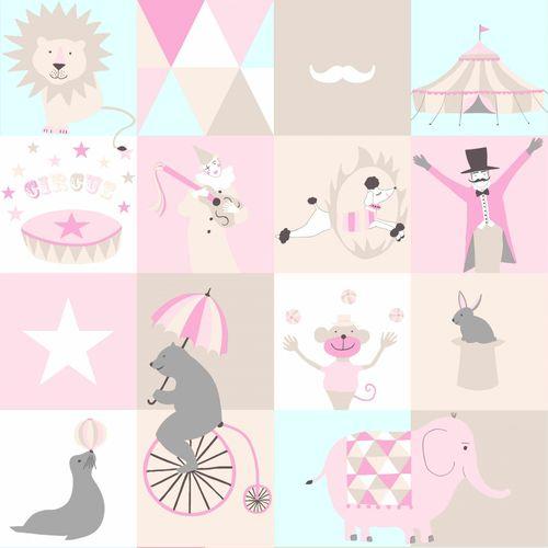 Tapete Vlies Tiere beige blau rosa Everybody Bonjour 138711 online kaufen