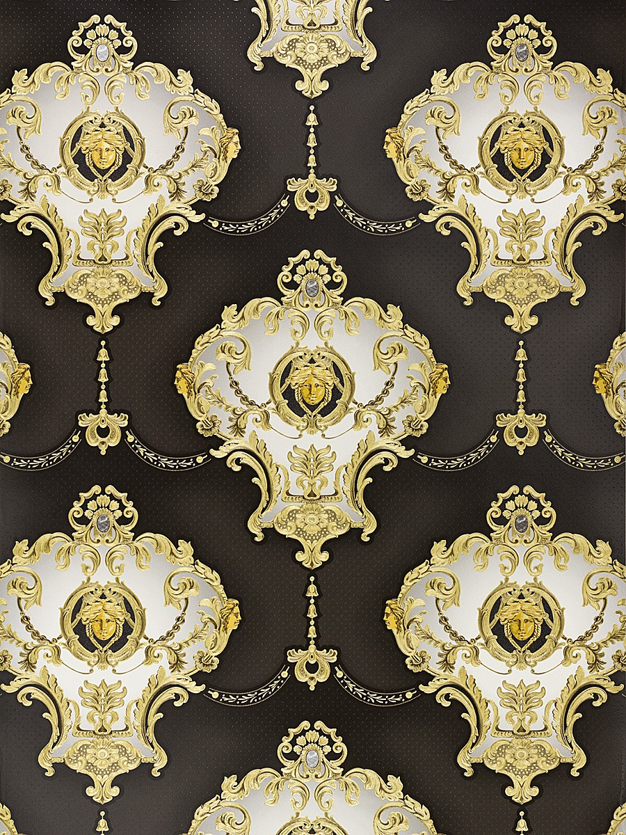 Wallpaper satin baroque medusa glossy hermitage 6553 70 for Baroque style wallpaper