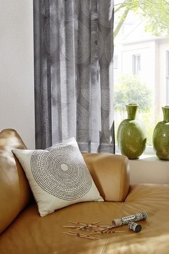 Semi-transparent eyelet curtain Zen Garden circle black 196745 online kaufen