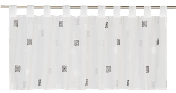 Half-curtain Kariert Quadro transparent grey 180041 online kaufen