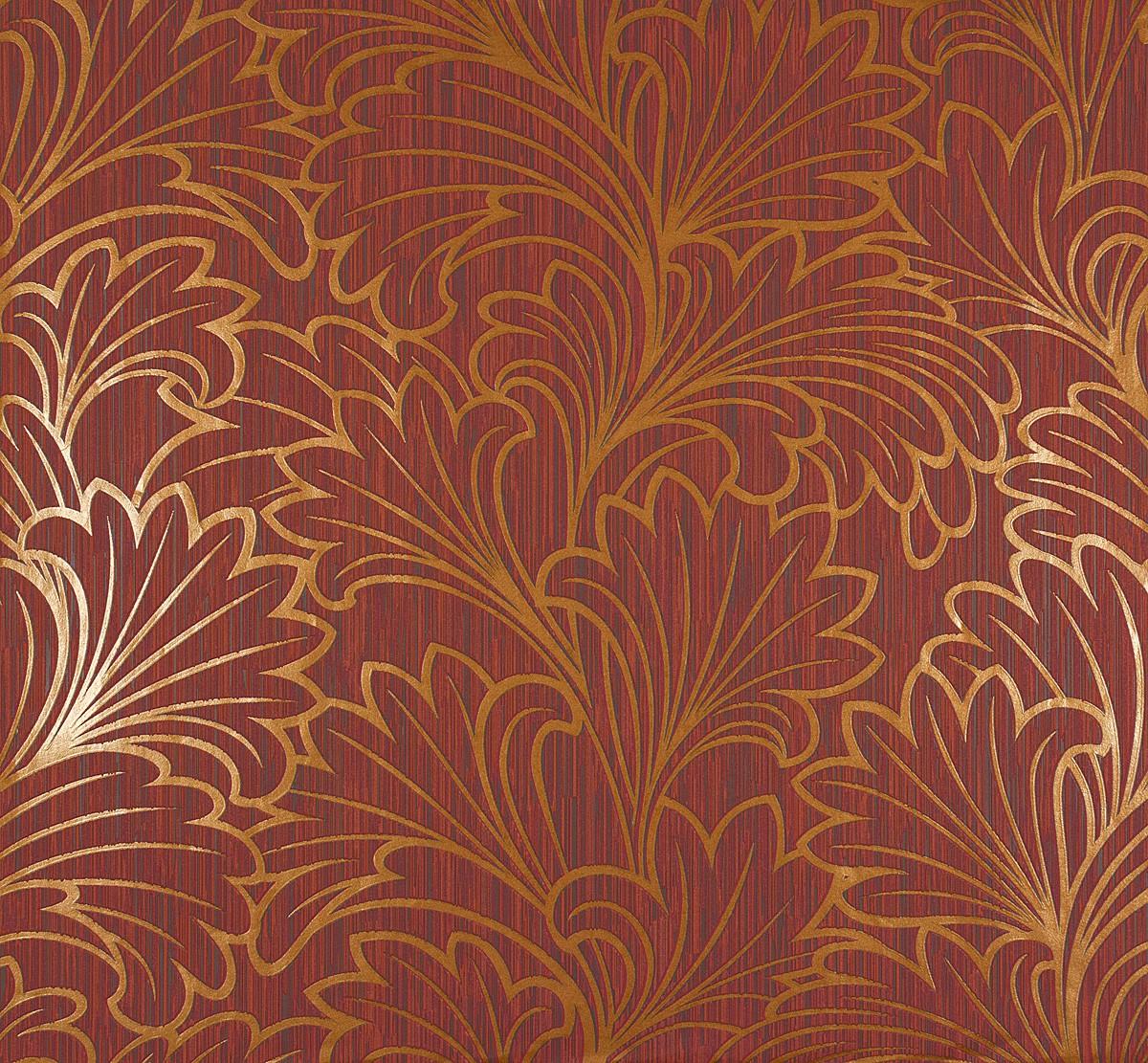 Tapete vlies grafisch rot orange marburg 56915 for Tapete orange