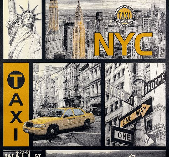 Kids Wallpaper New York Taxi grey yellow Gloss 30045-1 online kaufen