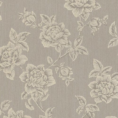 Wallpaper flowers cream grey Rasch Textil 076317 online kaufen