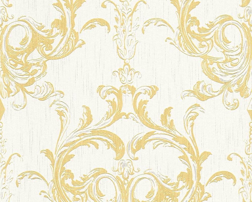 Tapete Vlies Barock gelb weiss Tessuto 96196 5 151 - Weise Barock Tapete