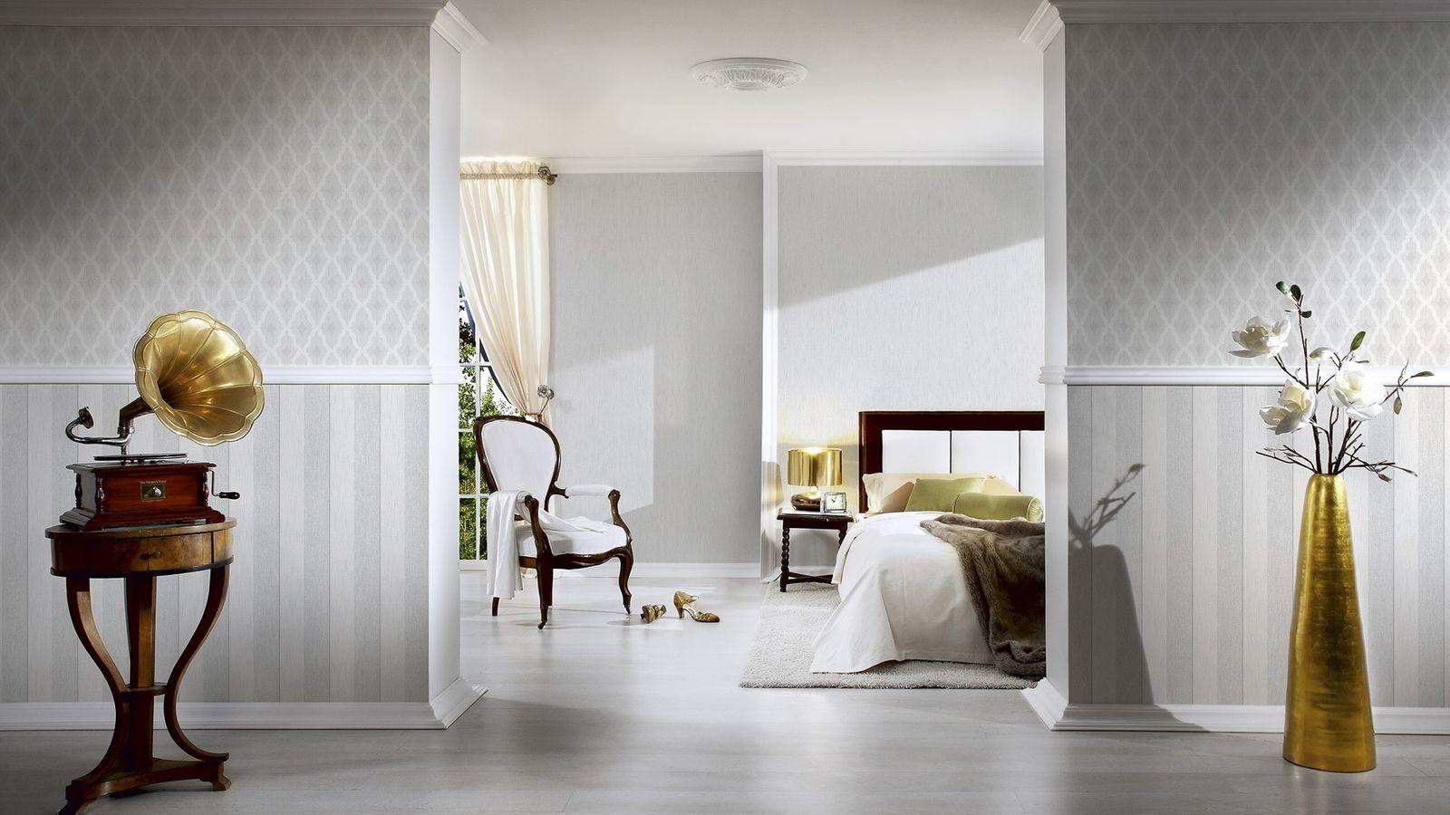 tapete vlies kariert wei grau tessuto 96197 1. Black Bedroom Furniture Sets. Home Design Ideas
